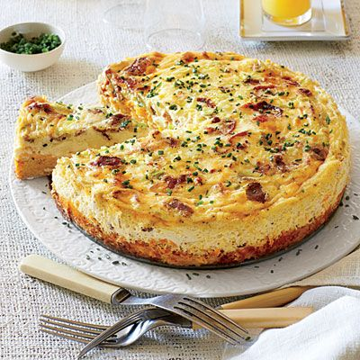 """Bacon-and-Cheddar Grits Quiche   Spread cheese to the edge of the warm, bacony grits """"crust"""" to prevent any custard from seeping out while the quiche bakes."""