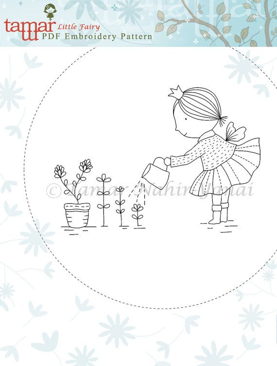 Welcome to my shop. This listing is for a PDF Download of the Embroidery Pattern: Little Fairy  Included in the PDF file: Black and white image