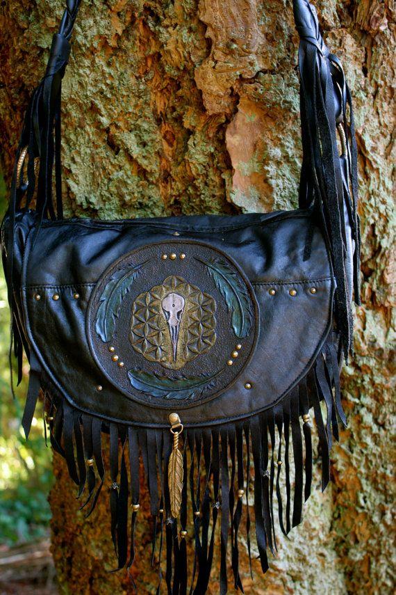Songbird - Leather fringed purse/bag. Tui bird skull design, flower of life and feathers. Handmade. Azrael's Circus designs. https://www.facebook.com/azraelscircus