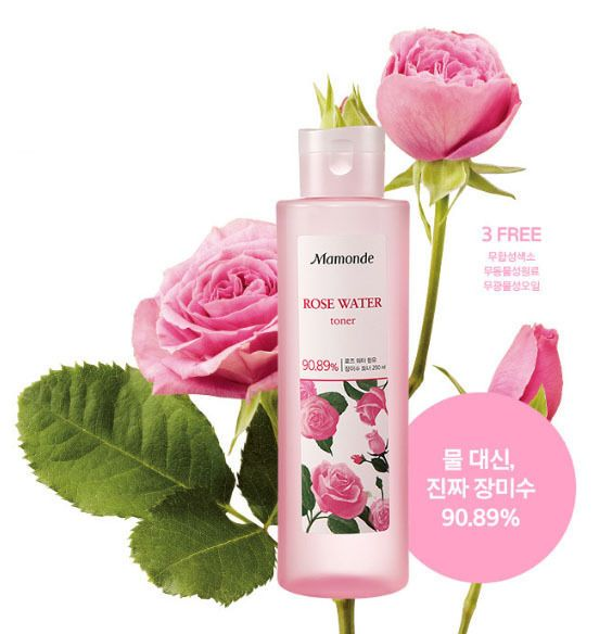 MAMONDE New Rose Water Toner 250ml, 90.89% Rose Water, Soothing Hydrating Toner #MAMONDE