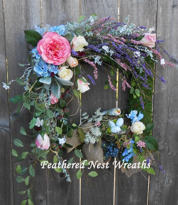 Square Wreath, Moss Wreath, Spring Wreath, Birdu0027s Nest Decor, Door Wreath,