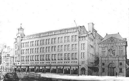 Vroom en Dreesmann Leiden ontworpen door architect Leo v.d.Laan Zonen tussen 1933-1935 Daarnaast het Oude Waag gebouw.