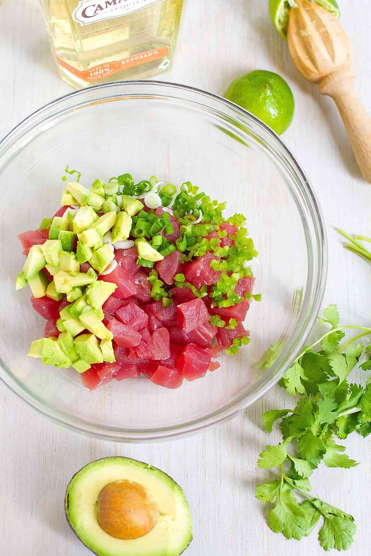 Ahi tuna ceviche gets a kick from tequila in this margarita-inspired appetizer recipe. Great for Cinco de Mayo or a summertime dinner party! from @cookincanuck
