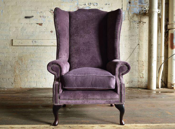 Modern British handmade Alston plain #Chesterfield wing back #Chair, shown in Aubergine Naples velvet. High back and fixed cushion seat | Abode Sofas