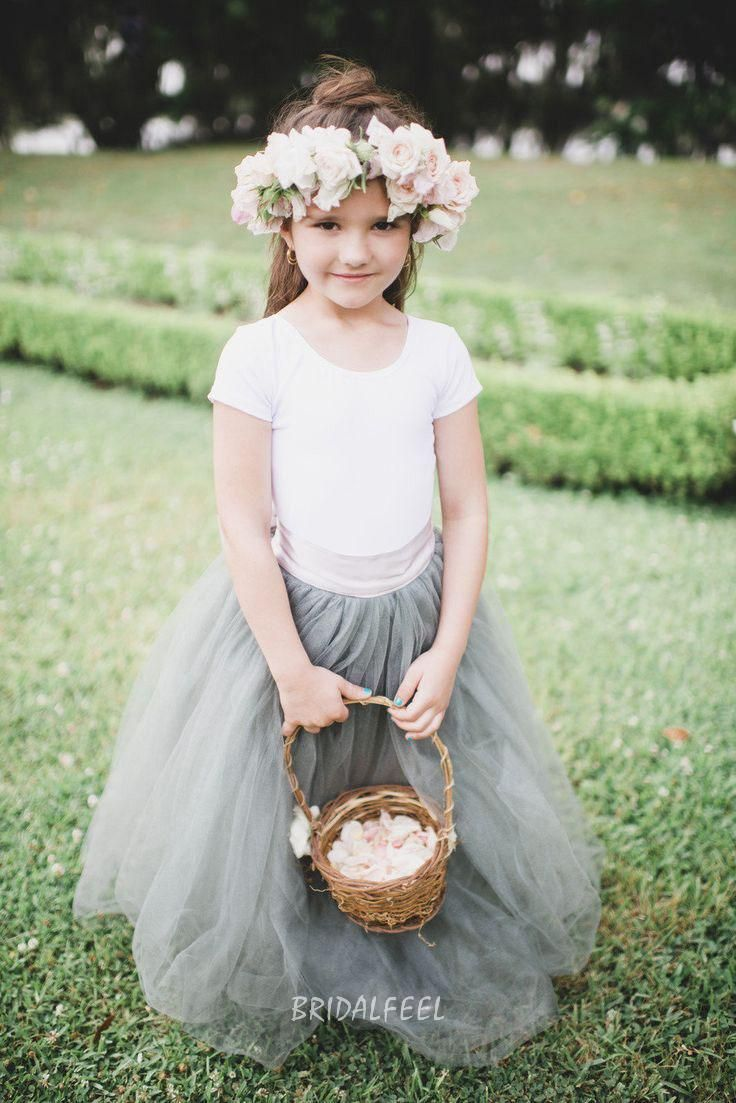 two-tone floor length tulle wedding flower girl dress