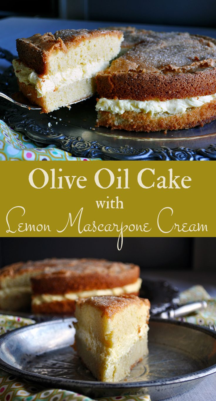 This Olive Oil Cake is moist and flavorful, with a soft, tender crumb that's not too sweet. It's perfectly delicious all on it's own, completely unadorned aside from its crackling sugary top. But, split in half and filled with a thick layer of lemon mascarpone cream transforms this simple, unassuming cake into something special.