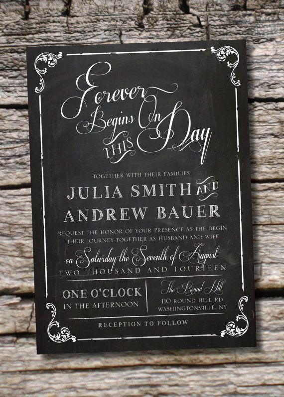 Vintage Blackboard Chalkboard Wedding Invitation And Response Card Chalkboard Wedding Invitations Wedding Invitations Chalkboard Wedding