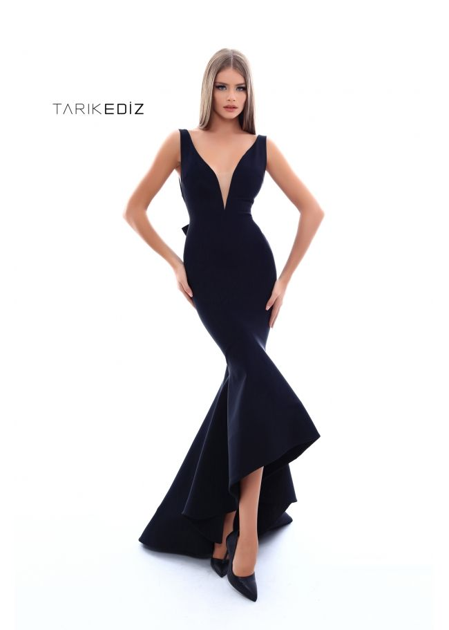 Tarik Ediz- Prom 2018 Collection Style  50238 - Mermaid party dress with  open back and a bow. 9cf27428f181