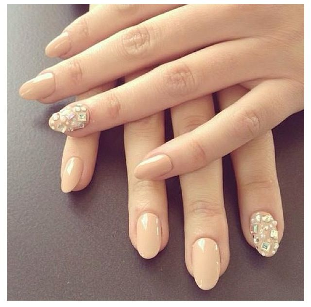 """Nude short almond shaped nails w/ diamonds...""""cause people are crazy on Pinterest and act like they went to school and are pros at being nail techs when they didn't do one hour of schooling for this shit."""""""