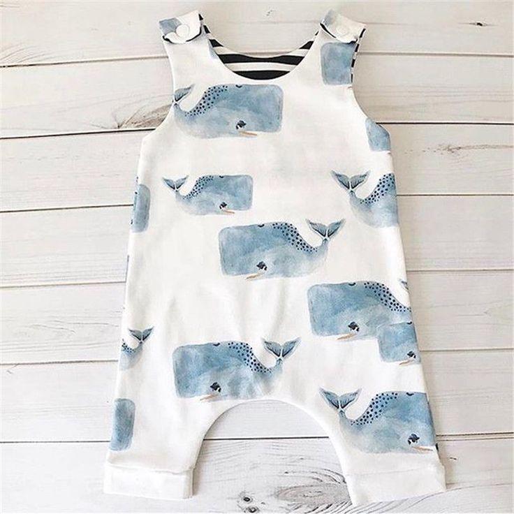 US Verkäufer Kleinkind Baby Jungen Mädchen Whale Strampler Bodysuit Overall Ou…