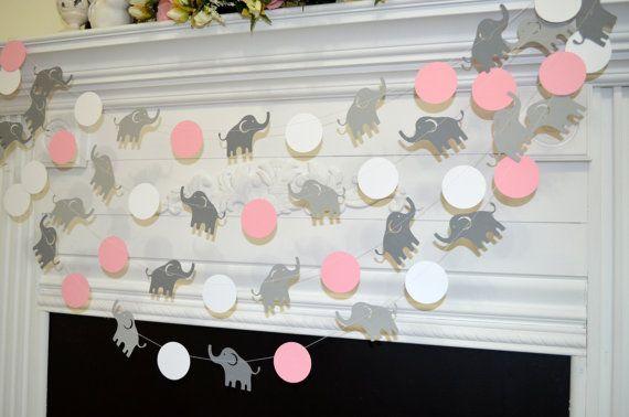 Elephant garland, Elephant baby shower decor, Elephant Birthday garland, Elephant wall art, Pink elephant, gray elephant garland bunting
