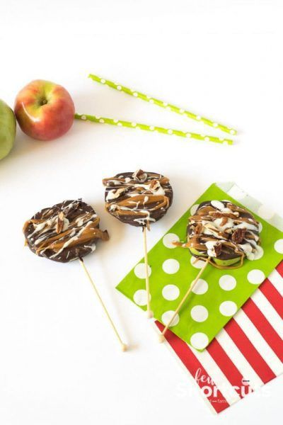A fall dessert that shouldn't be missed! See just how easy this Chocolate & Caramel Apple Slices Recipe is. Put them on a stick for even more fun!