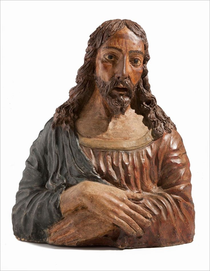 Lombardy  GIOVANNI D'ENRICO (1559-1644), attributed to  Bust of Jesus Christ  Circa 1600  Polychrome terracotta  cm 49 × 42 ×19