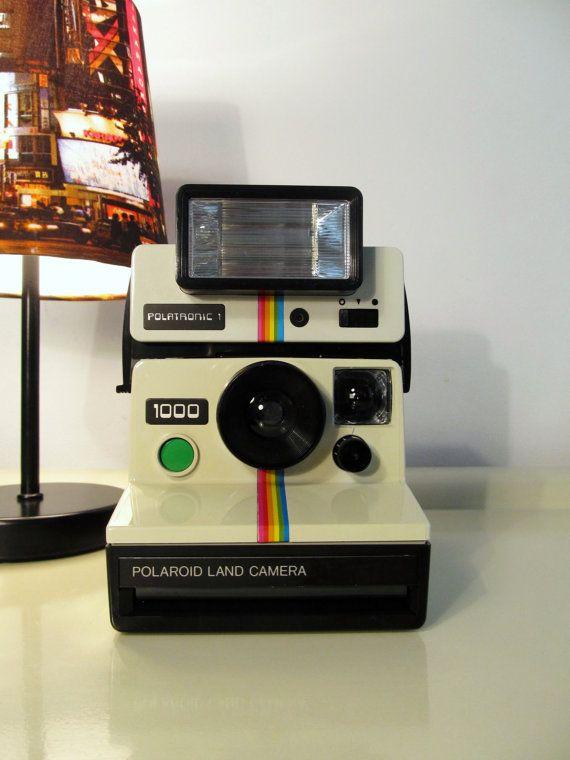 polaroid camera 1000 rainbow land camera with flash polatronic sx 70 type with original case. Black Bedroom Furniture Sets. Home Design Ideas