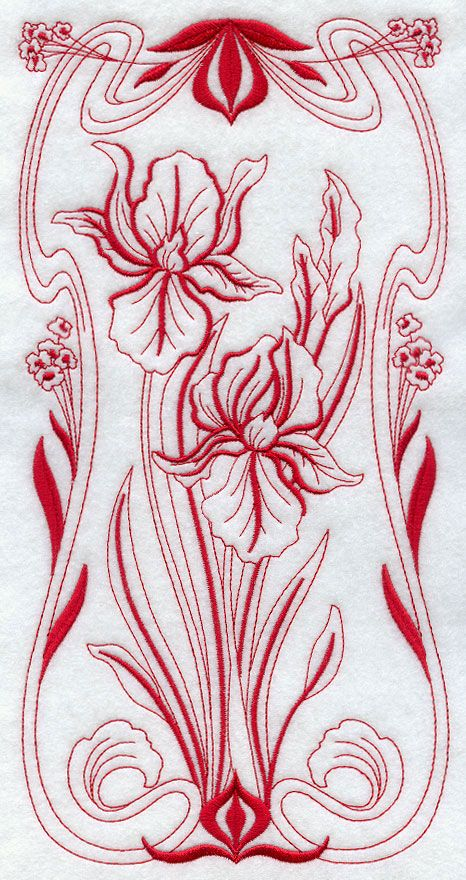 Art Nouveau Iris (Redwork)  A beautiful Art Nouveau flower panel in redwork.