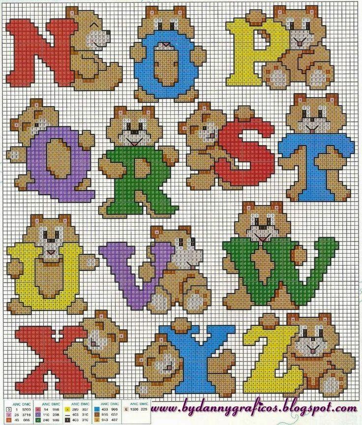 Oltre 25 fantastiche idee su lettere punto croce su for Alfabeto a punto croce per neonati
