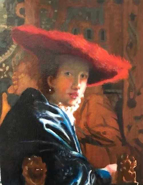 """""""Lady In the Red Hat"""" copy of Johannes Vermeer"""