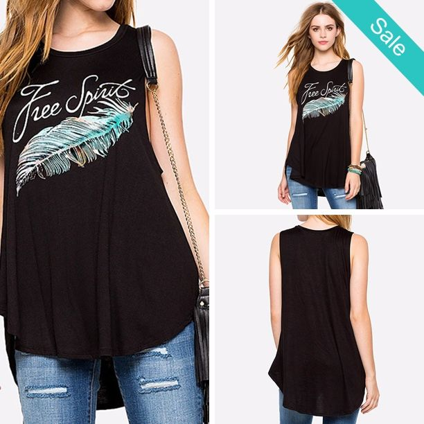 "Women's ""Free Spirit"" Feather Print Casual Black Tank Top T-Shirt - Tops Type: Tank Tops Pattern Type: Print Material: PolyesterFit: Typically smaller than usual. Order up a size esp if you are bustyPlease allow 10-21 days for delivery - On Sale for $26.00 (was $38.00)"