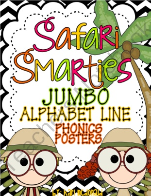 Safari Smarties JUMBO Alphabet Line: A Phonics Poster Set from Tangled Up In Teaching on TeachersNotebook.com (28 pages)  - The Safari Smarties JUMBO Alphabet Line is a safari themed alphabet bulletin board set. This phonics set allows you to have an alphabet line that matches your classroom theme! Each letter card measures approximately 7.5 x 9.75