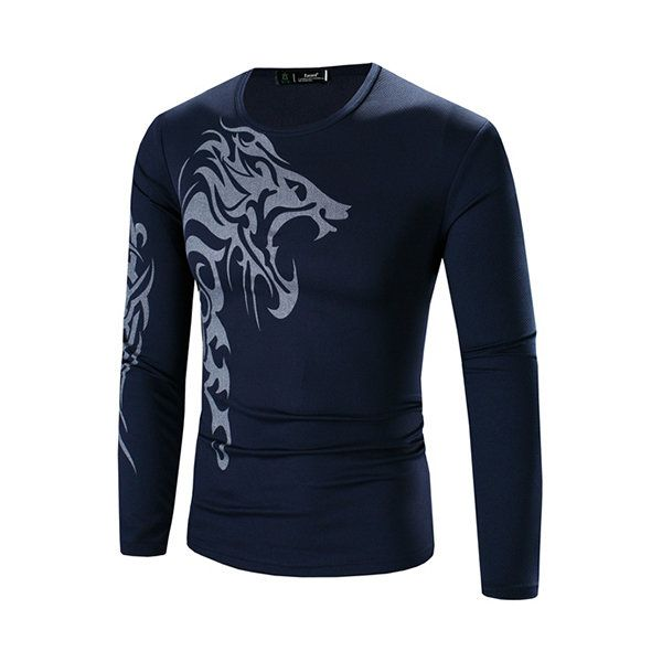 Mens Quick Drying Tattoo Dragon Printing Casual Long Sleeve Slim Fit T-shirts at Banggood