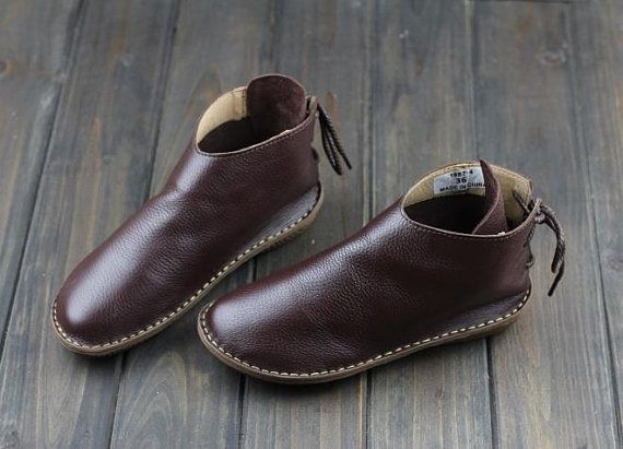 Handmade Women Leather ShoesOxford Soft Shoes Flat Shoes by HerHis