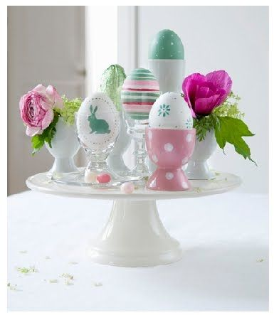Creating a centerpiece with those egg cups...  lillelykke.blogspot.com