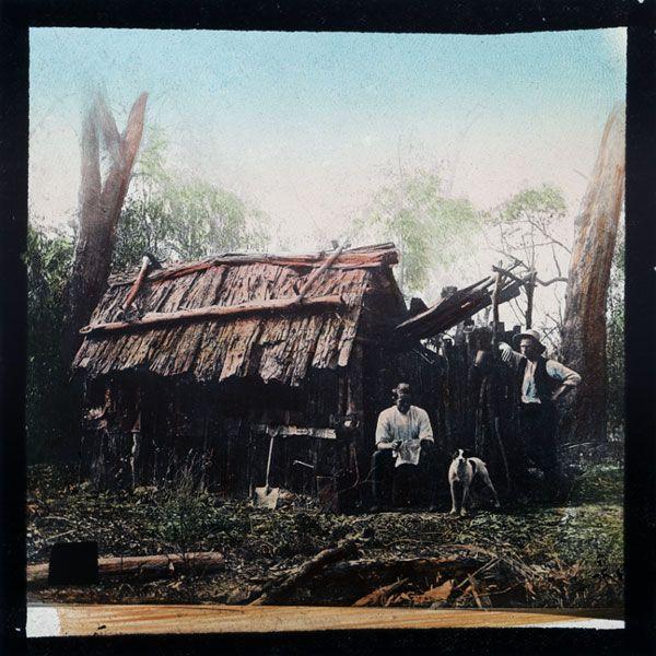 Settler's hut, Gippsland C19th  tinted glass slide