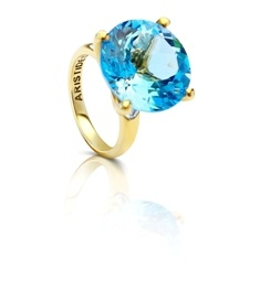 Claire Aristides Timeless Sky Blue Topaz Cocktail Ring