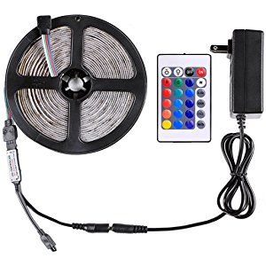 WenTop Led Strip Lights Kit Non-waterproof Led Tape Light DC12V SMD 3528 16.4 Ft (5M) 300leds RGB Flexible Light Fixture with Power Supply and 24key Remote for TV Backlight, Under Cabinet -RGB Only