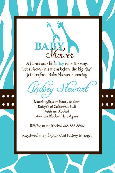Marvelous Wild Blue Safari Baby Shower Invitation By MadeFromTheHeartxo