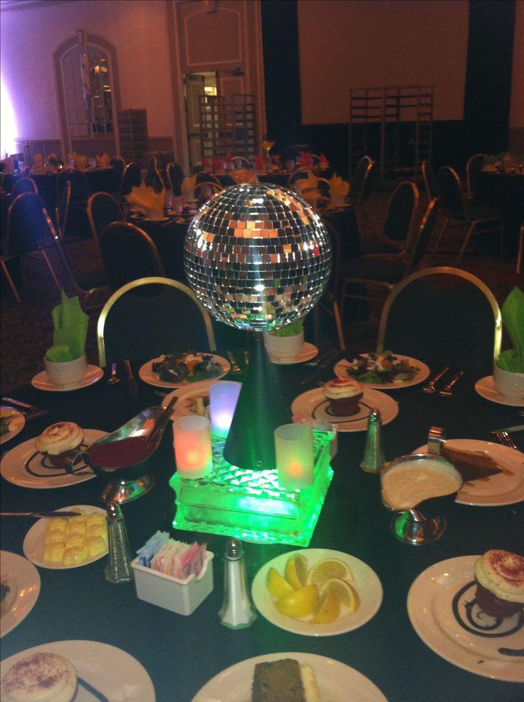 70s theme disco ball centerpiece event decor pinterest for 70s party decoration