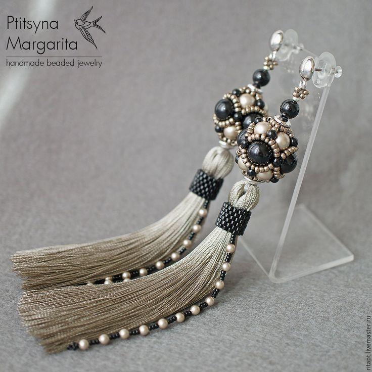 Купить Серьги кисти Platinum + Black - серьги кисти, серьги-кисти, длинные серьги