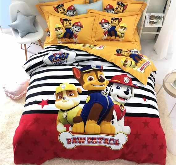 NEW Children Paw Patrol Cars 4 Piece Kids Bedroom Toddler Bedding Sheet Set USA