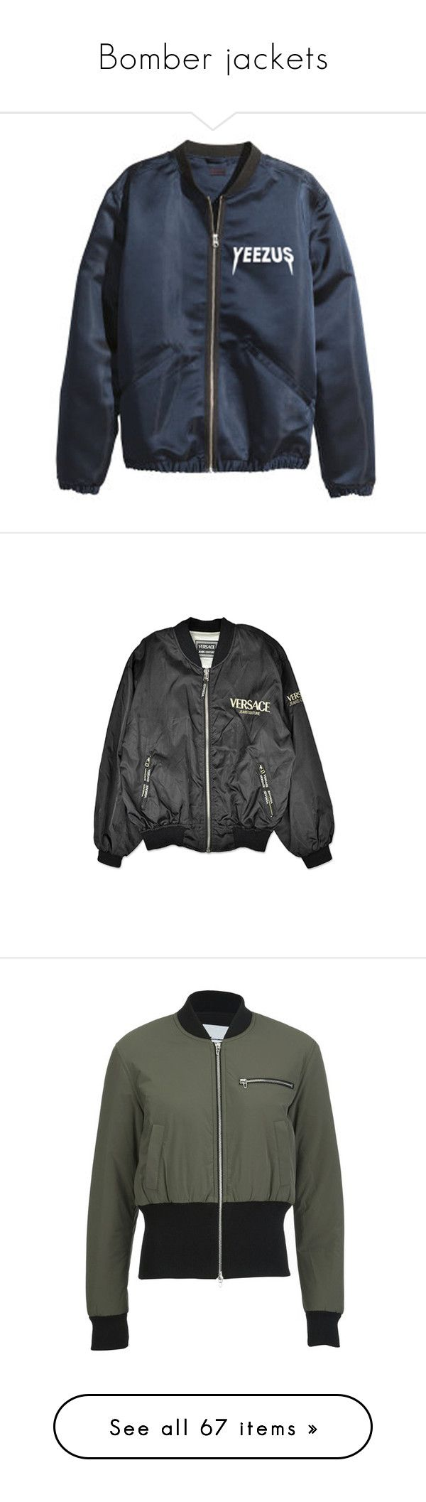"""""""Bomber jackets"""" by jazziearmstrong ❤ liked on Polyvore featuring outerwear, jackets, tops, coats, blue jackets, vintage coat, versace coats, versace, coats & jackets and flight jacket"""