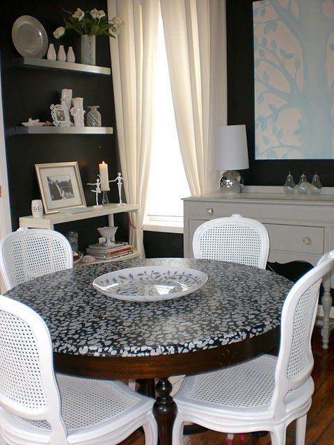 Fabric on furniture! wowzers! Modge Podge + fabric + poly + spray sealant = furniture makeover!