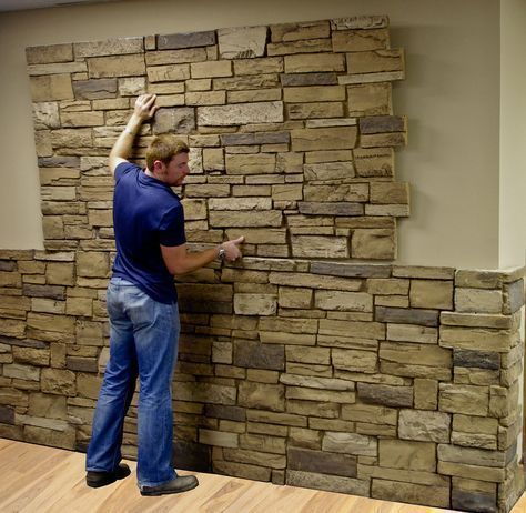 Faux stone sheets. Exactly what I want for the basement stairway and behind the wood stove