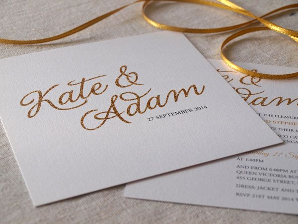 glittery gold wedding invitations - All that Glitters by Alannah Rose