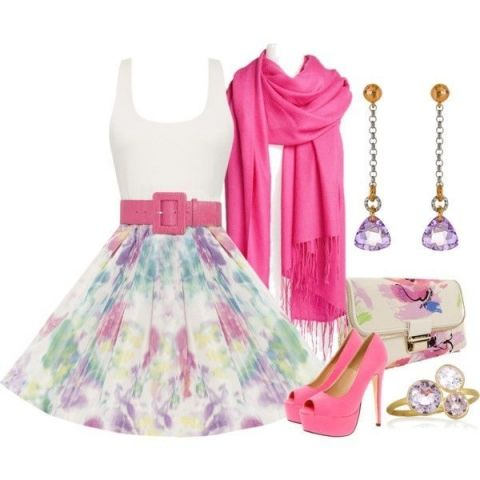 pink outfit fashion and I love the earrings