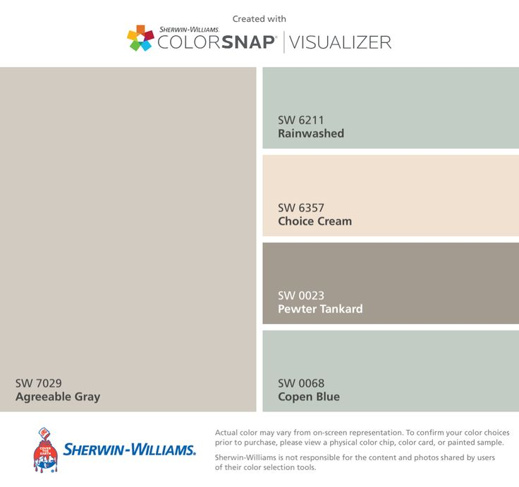 I found these colors with ColorSnap® Visualizer for iPhone by Sherwin-Williams: Agreeable Gray (SW 7029), Rainwashed (SW 6211), Choice Cream (SW 6357), Pewter Tankard (SW 0023), Copen Blue (SW 0068).