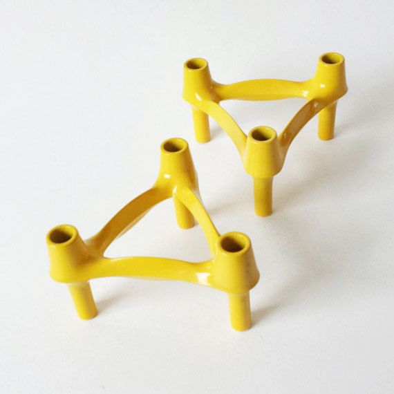 Vintage Yellow Candle Holders by Nagel Germany by PastPresentHome, $55.00 #LoveEtsyNL