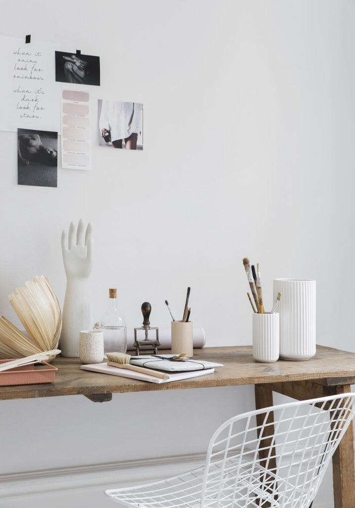 workspace styling. white, wood, terracota and dusty pink