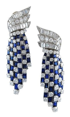 Sapphire  Diamond  Earrings, Van Cleef and Arpels