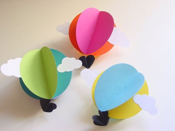 Hot Air Balloon Decoration-Bright-Set of 3-Baby Mobile-Nursery Decor-Bright Colors-Paper Decoration-Kids-Clouds-3D-Circle-Heart