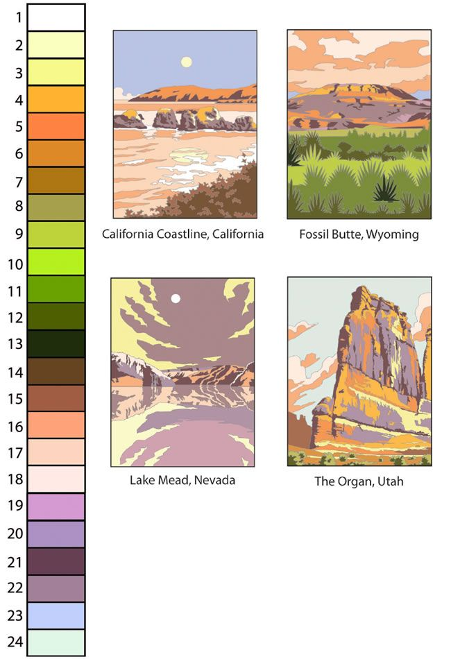Creative Haven AMERICAN LANDSCAPES COLOR BY NUMBER Coloring Book By Diego Jourdan Pereira