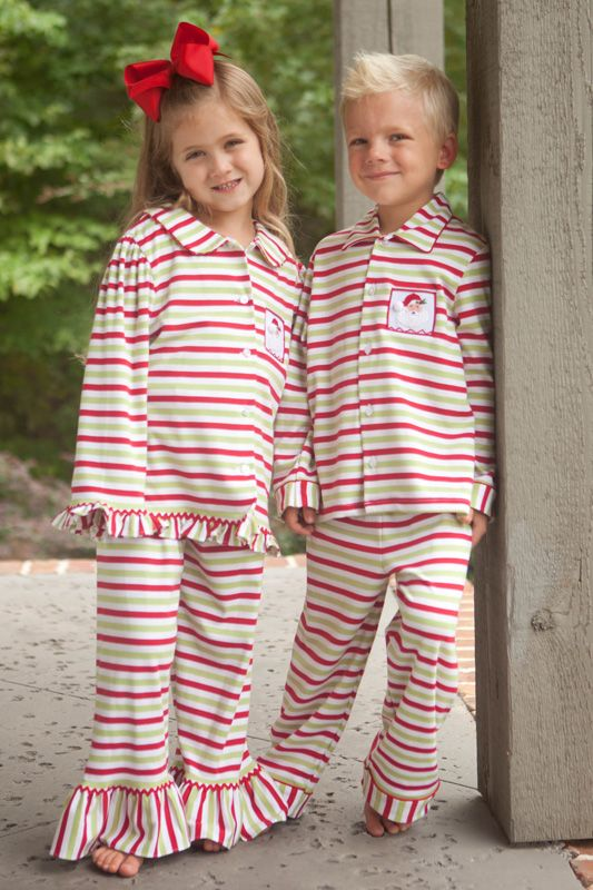 """It's beginning to look a lot like Christmas! These festive smocked boy's red and green striped Santa lounge wear are one of our favorites! Made from a soft knit fabric that is 95% cotton and 5% spandex for easy care. Be sure to get these in time for your holiday photos or gift giving! Perfect for Christmas morning!  <a href=""""http://www.southerntots.com/wp-content/uploads/PreOrderBanner-e1407511275792.jpg""""><img class=""""alignnone size-medium wp-image-11633"""" alt=""""Preorder Smocked Children's ..."""