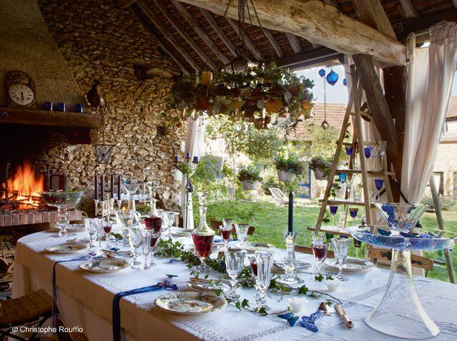 #table #princiere #exterieur #cheminee #diner