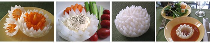 Carved onion lotuses taught in Vegetable and Fruit Carving course: http://www.vegetablefruitcarving.com/vegetable-and-fruit-carving-course-101/