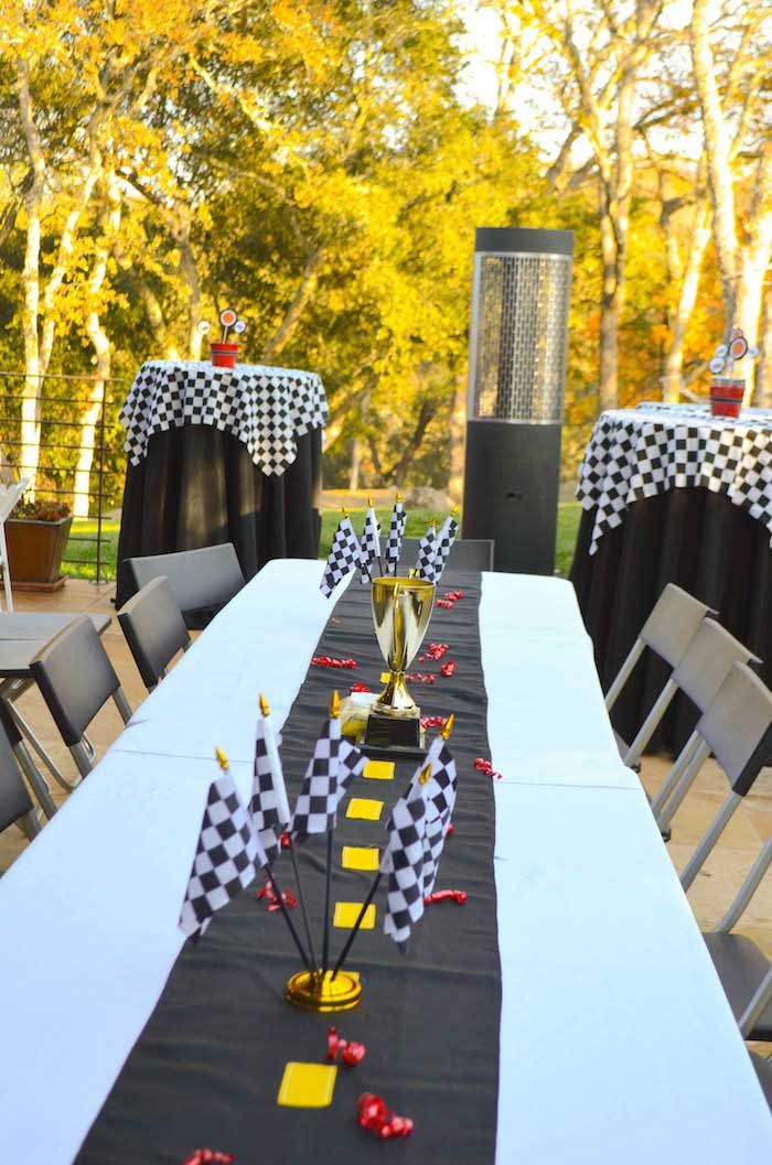 Race Car themed birthday party with Such Cute Ideas via Kara's Party Ideas | Cake, decor, cupcakes, games and more! KarasPartyIdeas.com #racecarparty #partyideas #carparty (5)