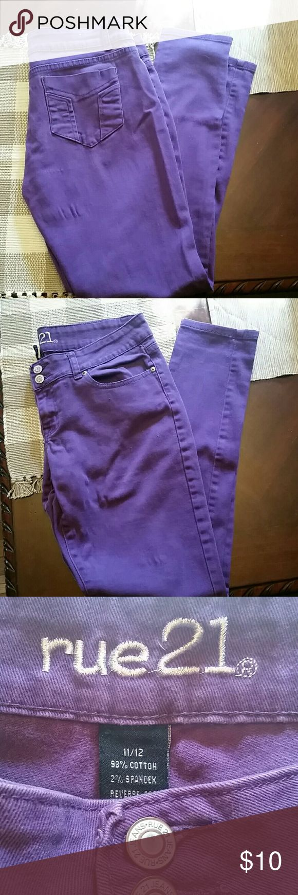 Purple Skinny jeans EUC Size 11/12 Purple Skinny jeans from Rue21 98% cotton and 2% Spandex  #HotTopic #punk #goth #Tripp Rue21 Jeans Skinny