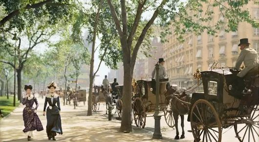 Cab Stand In New York (c.1900) colorized - BackintheUSA - Google+